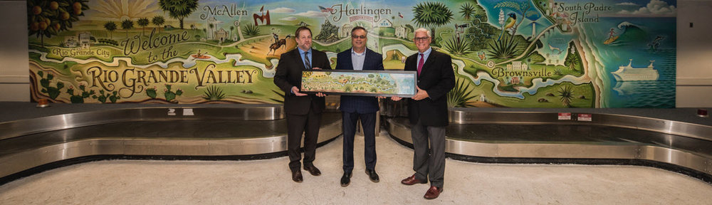 The mural at the Harlingen airport and Tim Zeltner's original artwork