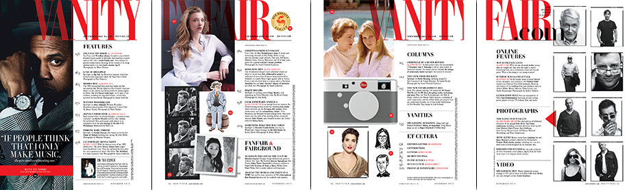 Vanity Fair's 4 page TOC (Print edition)
