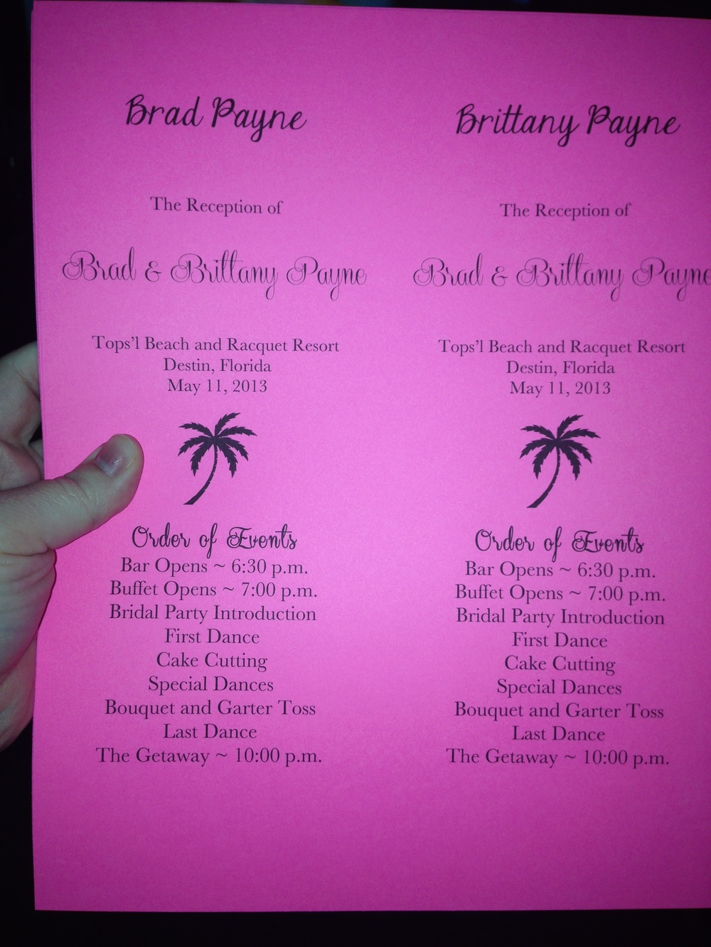 Diy Wedding Reception Programsplacecards Pink Glitter Pumpkins
