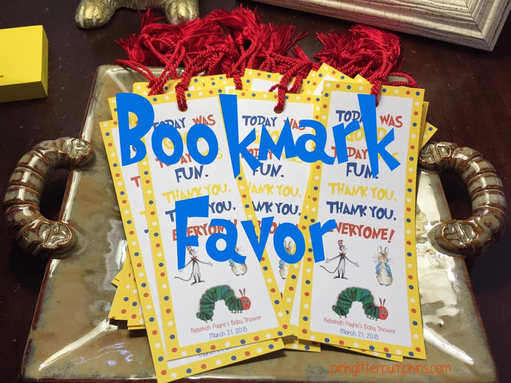 Bookmark Favor Pink Glitter Pumpkins