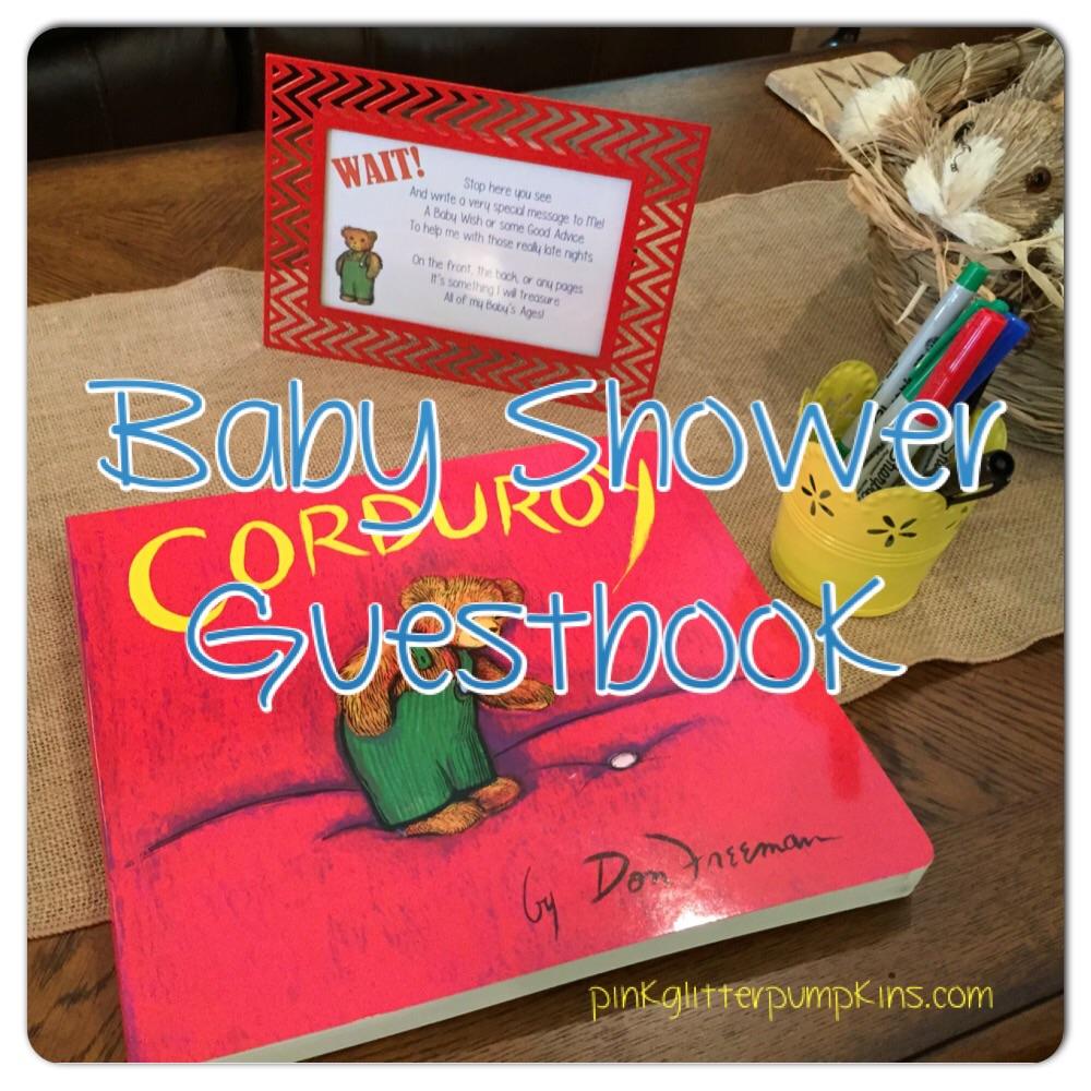 Baby Shower Guestbook Pink Glitter Pumpkins