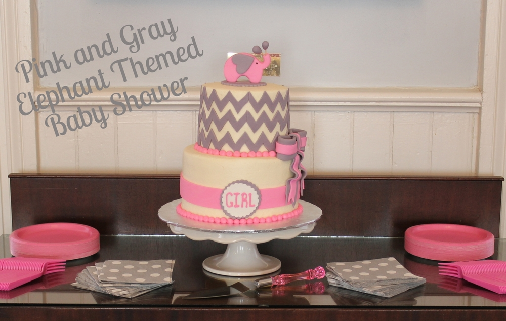 Pink and Gray Elephant Themed Baby Shower Pink Glitter Pumpkins