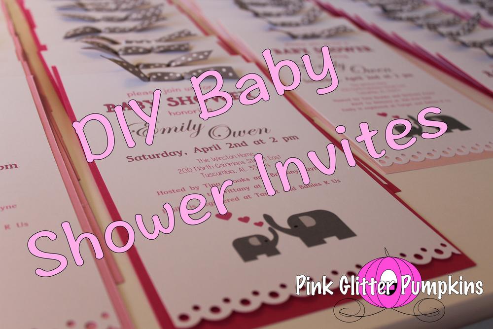 Diy Baby Shower Invites Pink Glitter Pumpkins