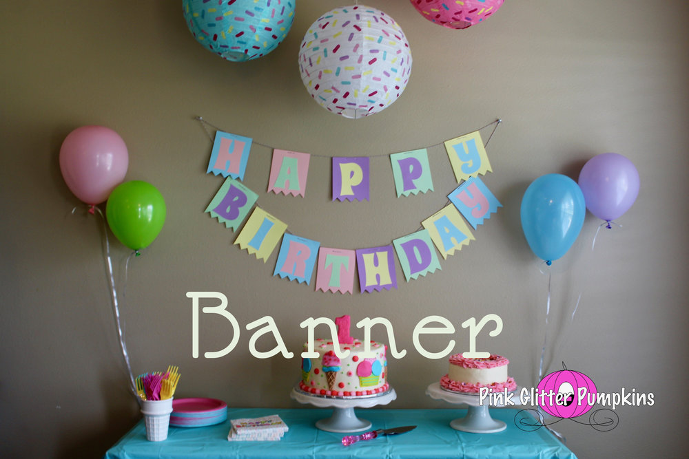 happy birthday banner pink glitter pumpkins