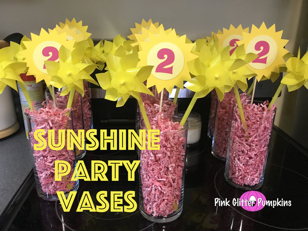 Sunshine Party Vases Pink Glitter Pumpkins