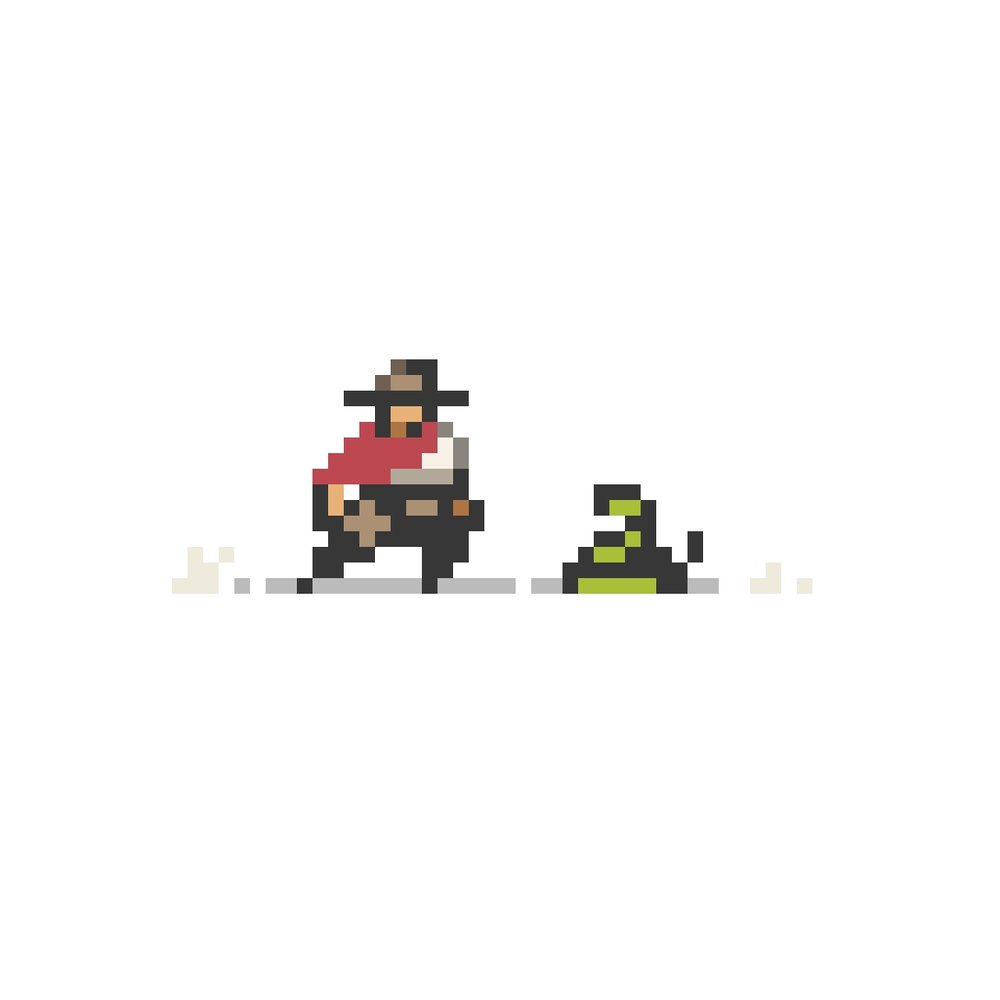 Cowboy and snake.