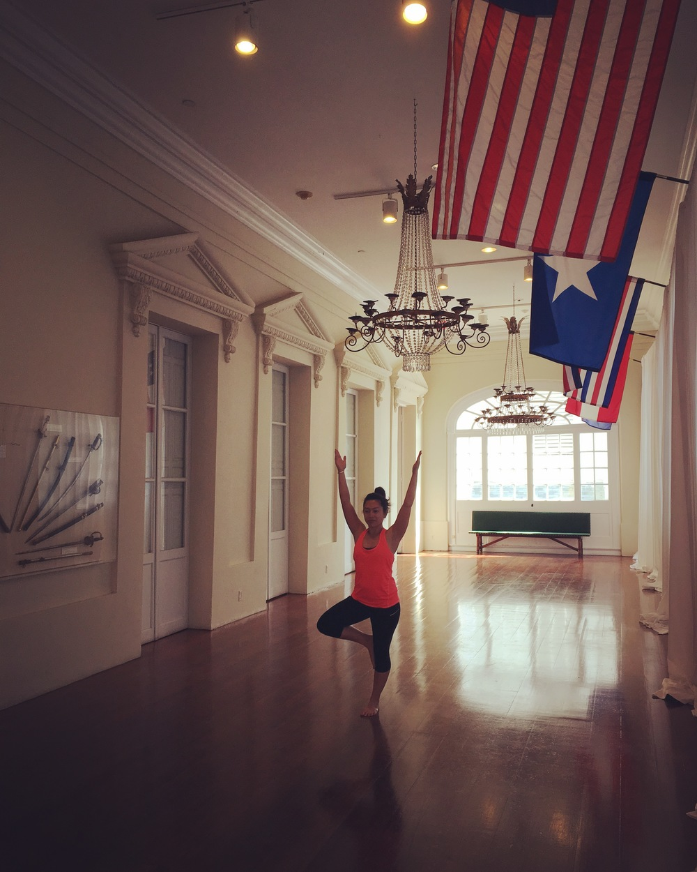 Denise in Tree Pose at the Cabildo, New Orleans