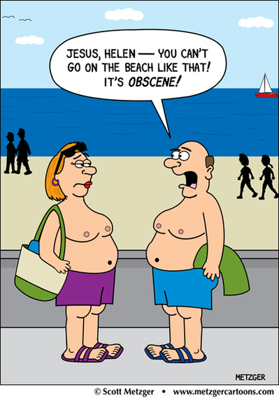 Credit: Scott Metzger – www.metzgercartoons.com – http://www.metzgercartoons.com/newswritingmisc/topless-couple-on-the-beach-cartoon-its-a-greeting-card