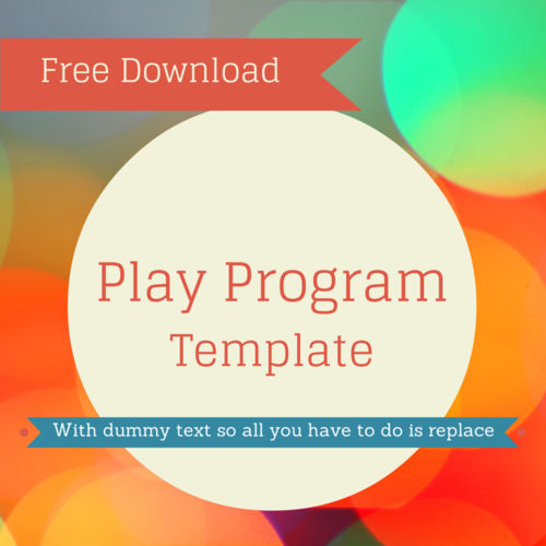 FREE Play Program Template Theaterish - Play program template