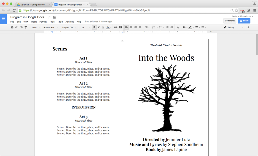 How To Create A Show Program In Google Docs Theaterish - Google drive templates brochure