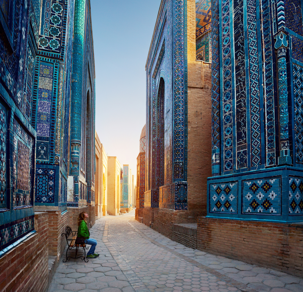 The winding streets of Samarkand, Uzbekistan