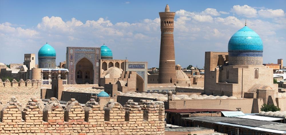 Kalon Minaret towering over Bukhara, Uzbekistan.