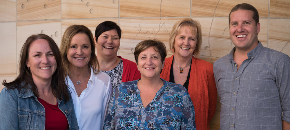 (left to right) Samantha ryan - Senior client relationship manager. jo ainscough - senior travel consultant, michelle sutton - senior travel consultant, margot cunich - director & academic coordinator, gill young - senior travel consultant, mark cunich - managing director
