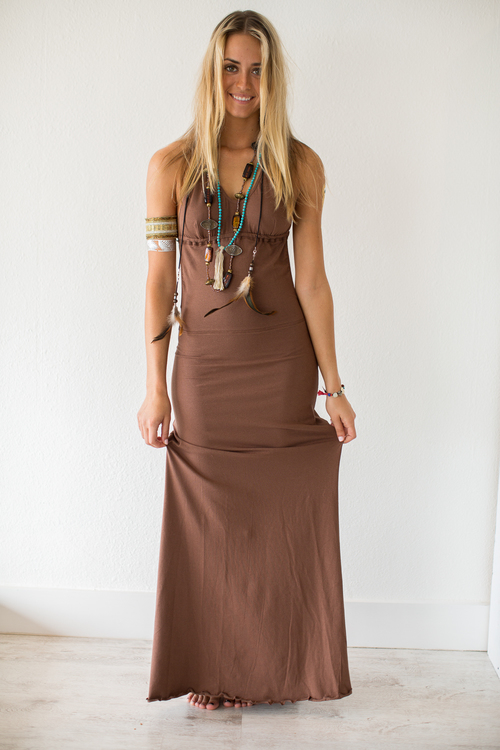 Low Back Brown Maxi Dress — Mora Surf Boutique