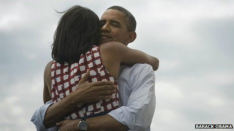 """Obama Tweets His Victory Obama triumphantly embraces the power of social media and four more years in the White House. The words """"four more years"""", coupled with a photo of Barack and Michelle Obama embraced in a hug, have become the most retweeted Twitter post ever. (via BBC News - Barack Obama victory tweet most retweeted ever)"""