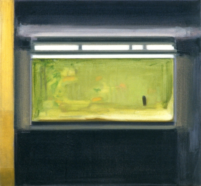 """Aquarium""    2002  26 x 28"" inches.  Oil on canvas."