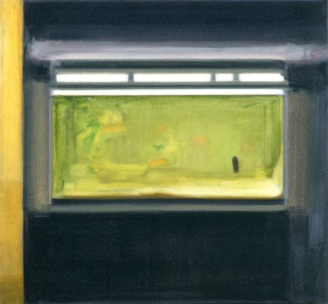 """""""Aquarium""""    2002  26 x 28"""" inches.  Oil on canvas."""