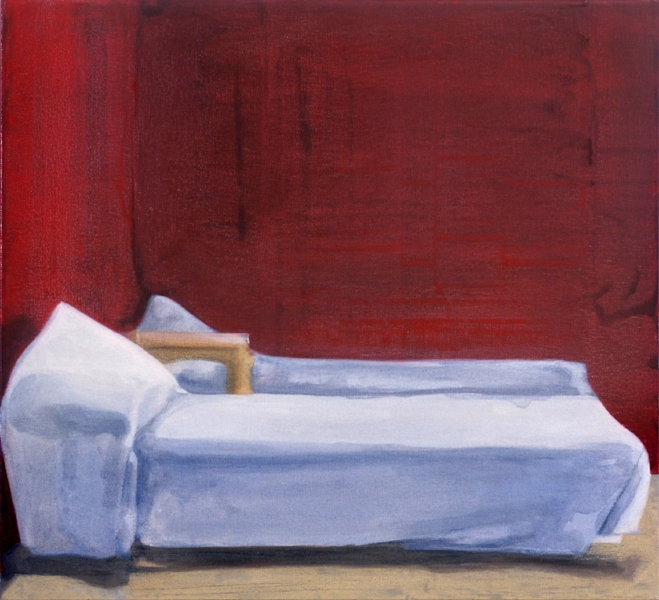 """Beds""    2002  22 x 24"" inches.  Oil on canvas."