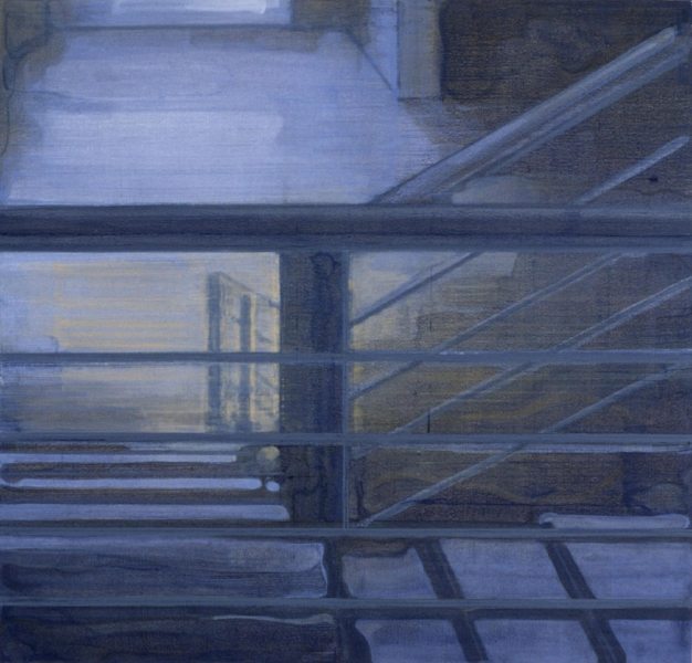 """Stairs""    2002  48 x 50"" inches.  Oil on canvas."