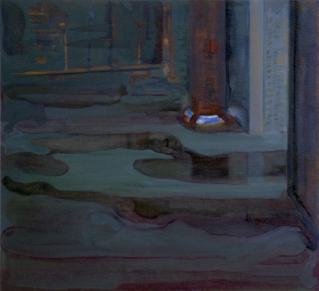 """Basement""    2001  32 x 35"" inches.  Oil on canvas."