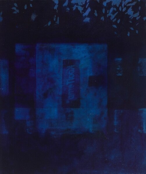 """Night Window (2:38 am)""    2014  19 x 16"" inches.  Oil on canvas."