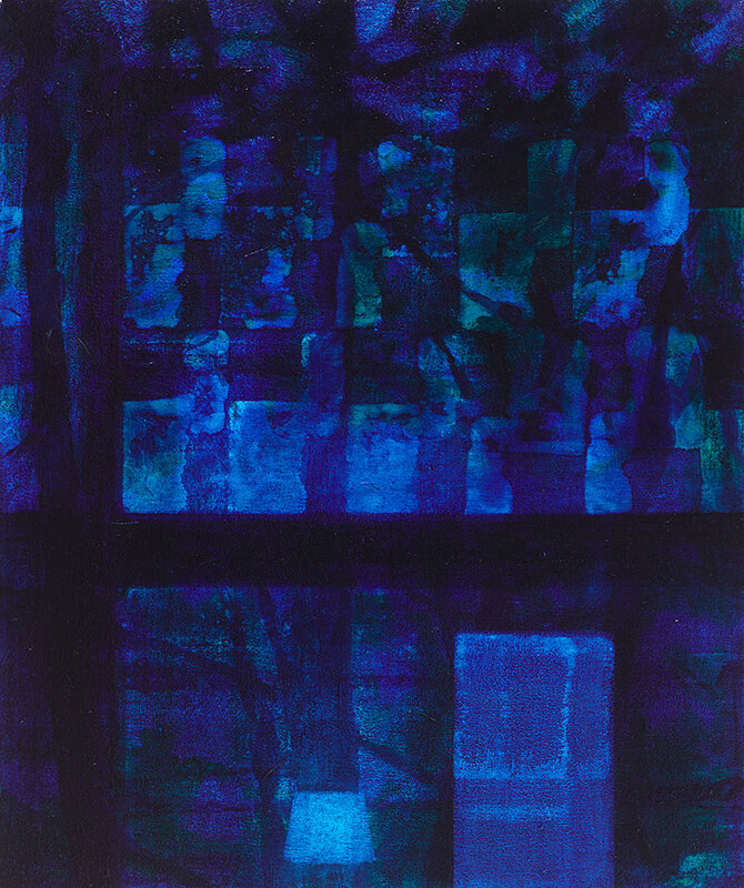 """Night Window (12:53 am)""    2014  19 x 16"" inches.  Oil on canvas."