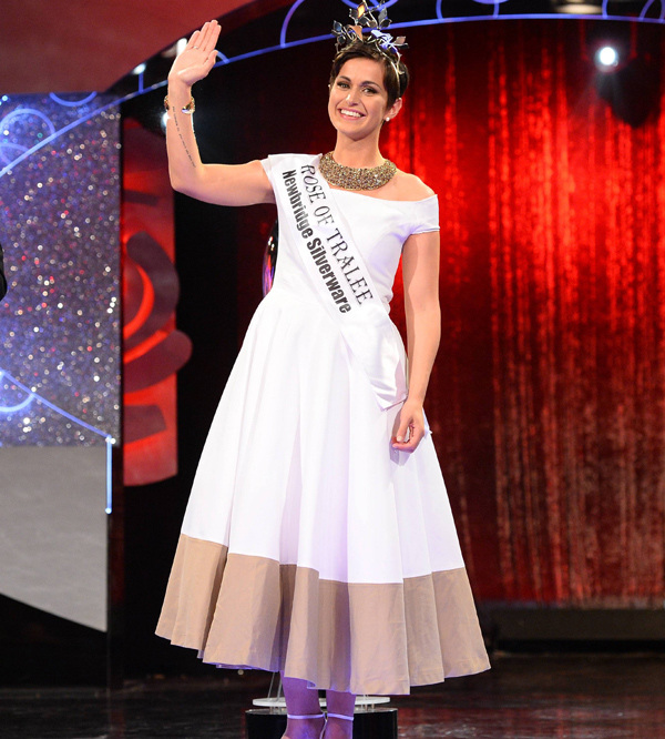 Philadelphia's Maria Walsh won Ireland's annual Rose of Tralee pageant wearing a custom dress by Megan Swansen.