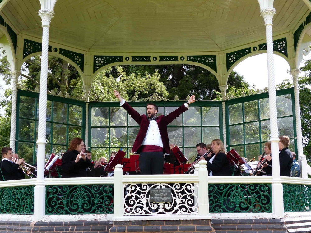 On the Victorian bandstand with the Alveley Village Band at the Birmingham Botanical Gardens and Glasshouses.