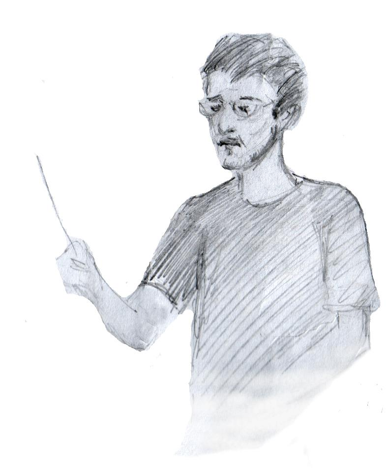 A sketch drawn by the Birmingham Concert Orchestra percussionist, Jessica, when I was 20!