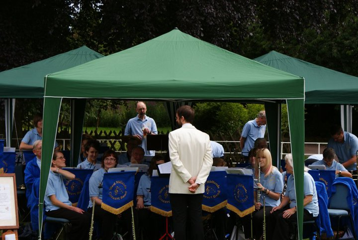 With the West Midlands Concert Band in the gardens of Bantock House.
