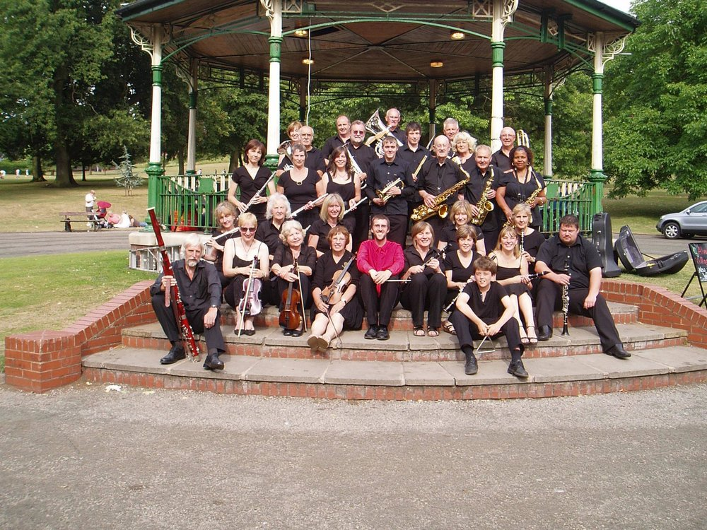 With members of the Alveley Village Band on the bandstand in Mary Stevens Park, Stourbridge.