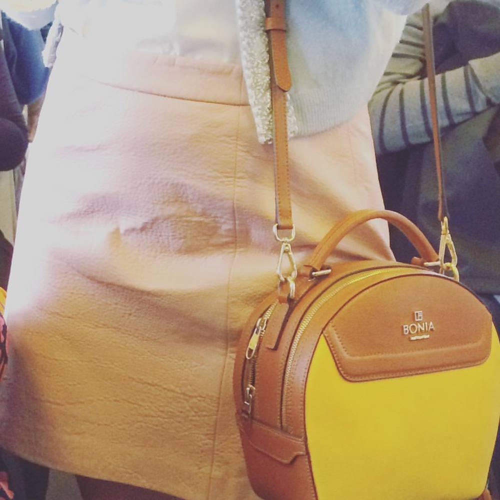 Super cute pastel pink skirt, dusty blue embellished cardi and lemon and tan crossbody. #fashiontraining  #melbourne #getcreative