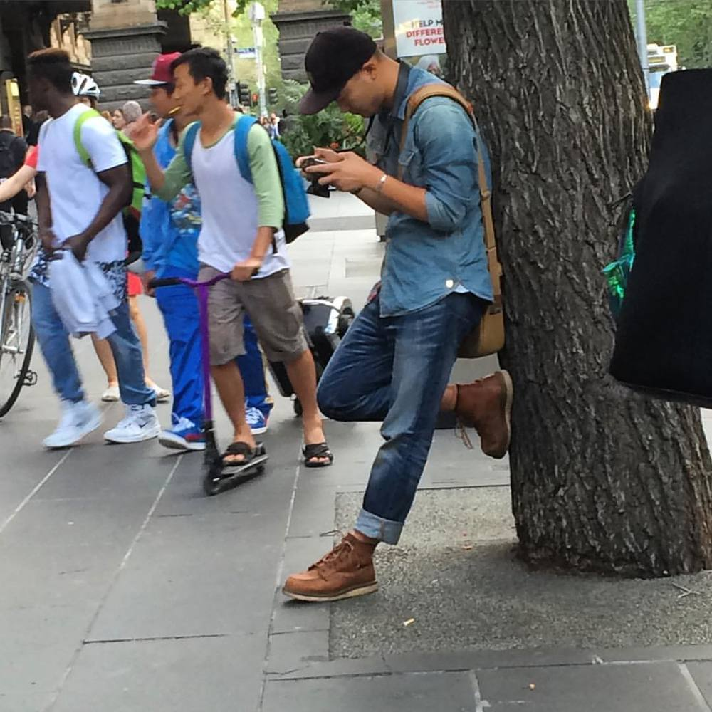 What a dude! Rockin double denim and tan boots. #melbourne #fashiontraining #getcreative