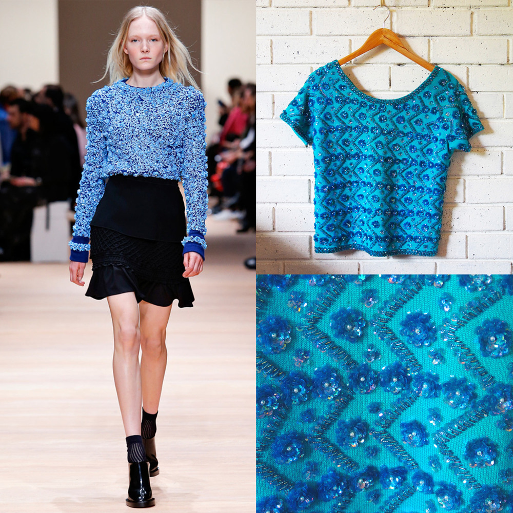 Carven embellished knit top…our vintage embellished knit top…   SHOP VINTAGE ONLINE and GET CREATIVE!   http://www.lauralana.com.au/shop/embellished-knit-top