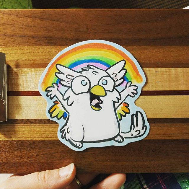 Traditional brush pen and marker badge commission I made at Furpocalypse this weekend. This one is for Albi!  #art #traditionalart #copic #copics #copicmarkers #ink #furryart #furry #furryartwork #artist #artistsoninstagram #drawing #gryphon #rainbow #furpocalypse #furpoc2017