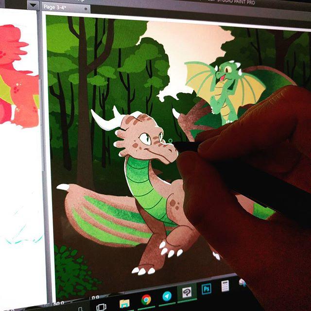 Spent the day reworking this dragon to hammer out brushes & style for the Myn book! 🐉  #art #illustration #kidlit #kidlitart #digitalart #drawing #artist #csp #msp #clipstudiopaint #mobilestudio #wacom #dragon #anthro #dragons #mobilestudiopro