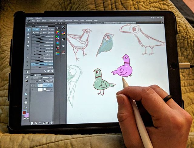 I put a matte screen protector on my iPad and it's all I want to draw on now  #art #ipadpro #ipadartist #digitalart #bird #pigeon #sketch #applepencil #clipstudiopaint #doodle #artist