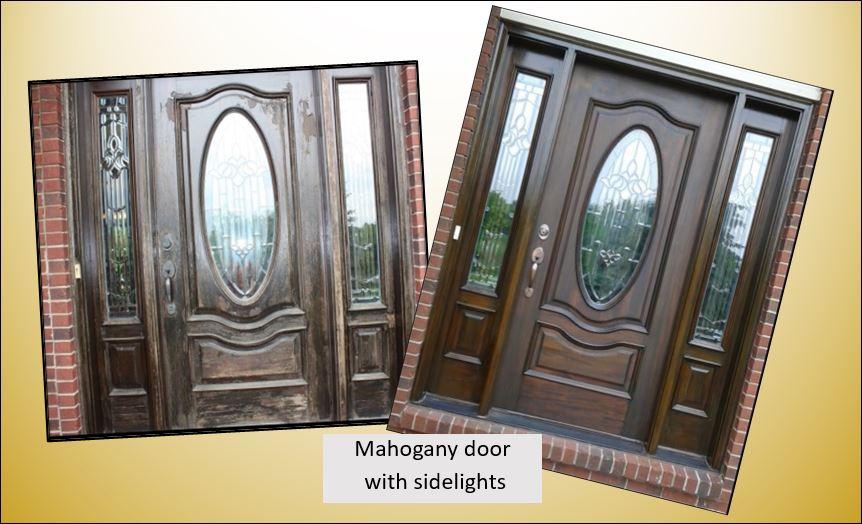 LSU Area mahogany wood door and sidelights