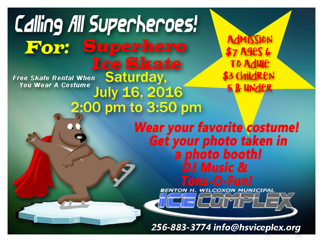 Join us for a superhero costume skate, Saturday, July 16, 2016 2pm to 3:50 pm.