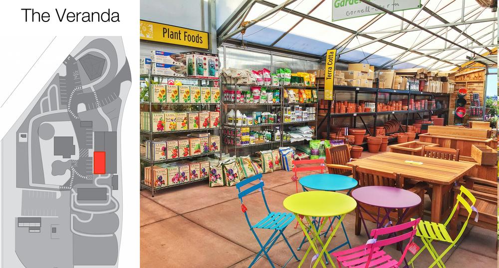 The south half of the Veranda holds our plant foods (fertilizers), terra cotta & plastic pots,Cedar furniture, and Fermob furniture.