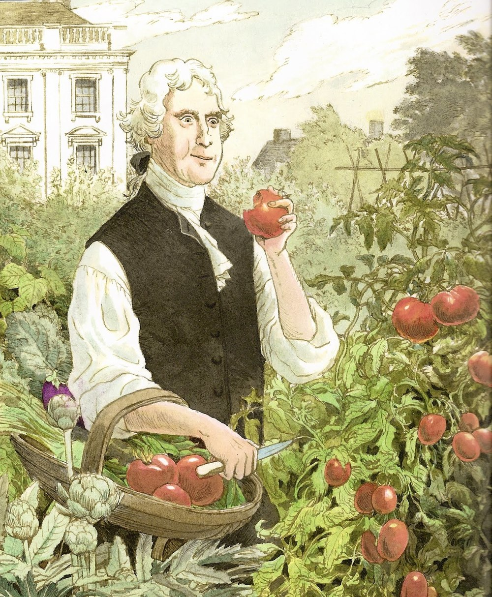 An illustration of Thomas Jefferson in the first White House garden by S.D. Schindler courtesy of The National Children's Book and Literacy Alliance.
