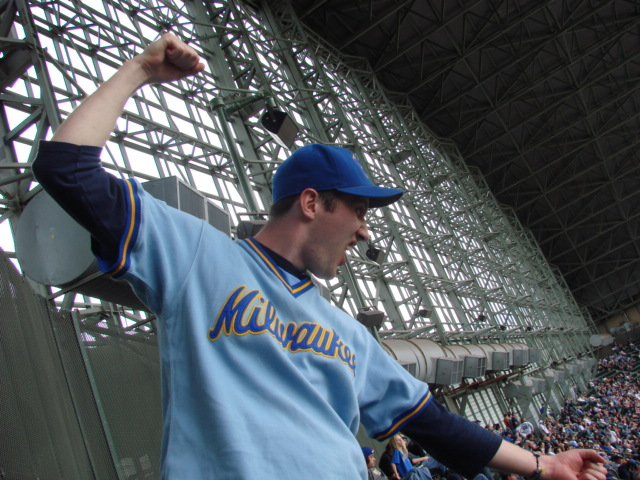 The Brewers were losing but I still cheered them on as loud as I could from the last row of the stadium.