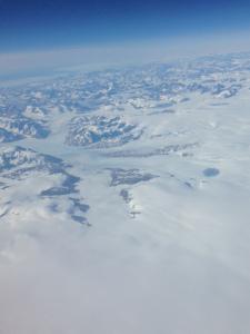 Arctic snow fields from 35,000 feet.
