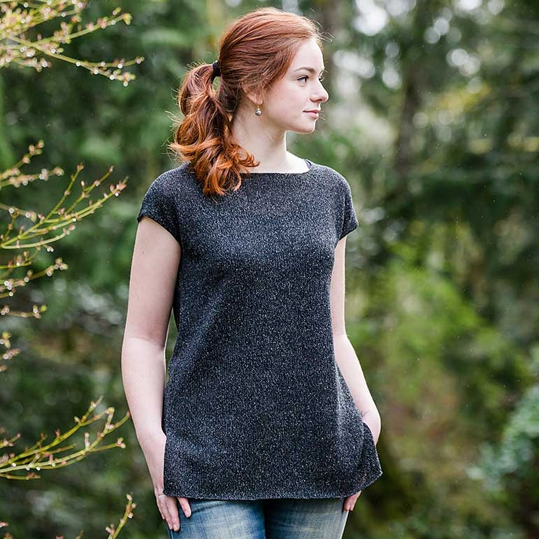 Churchmouse's Simple Tee knits up beautifully in Shibui Twig, a textured and cool linen, recycled silk, and wool blend.