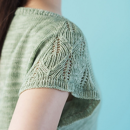 Asagi is a sweet tee with a leaf motif on the sleeves, perfect for any fingering weight yarn!
