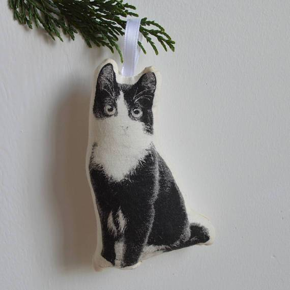 Silkscreen Cat and Dog Ornaments by artist Shannon Broder