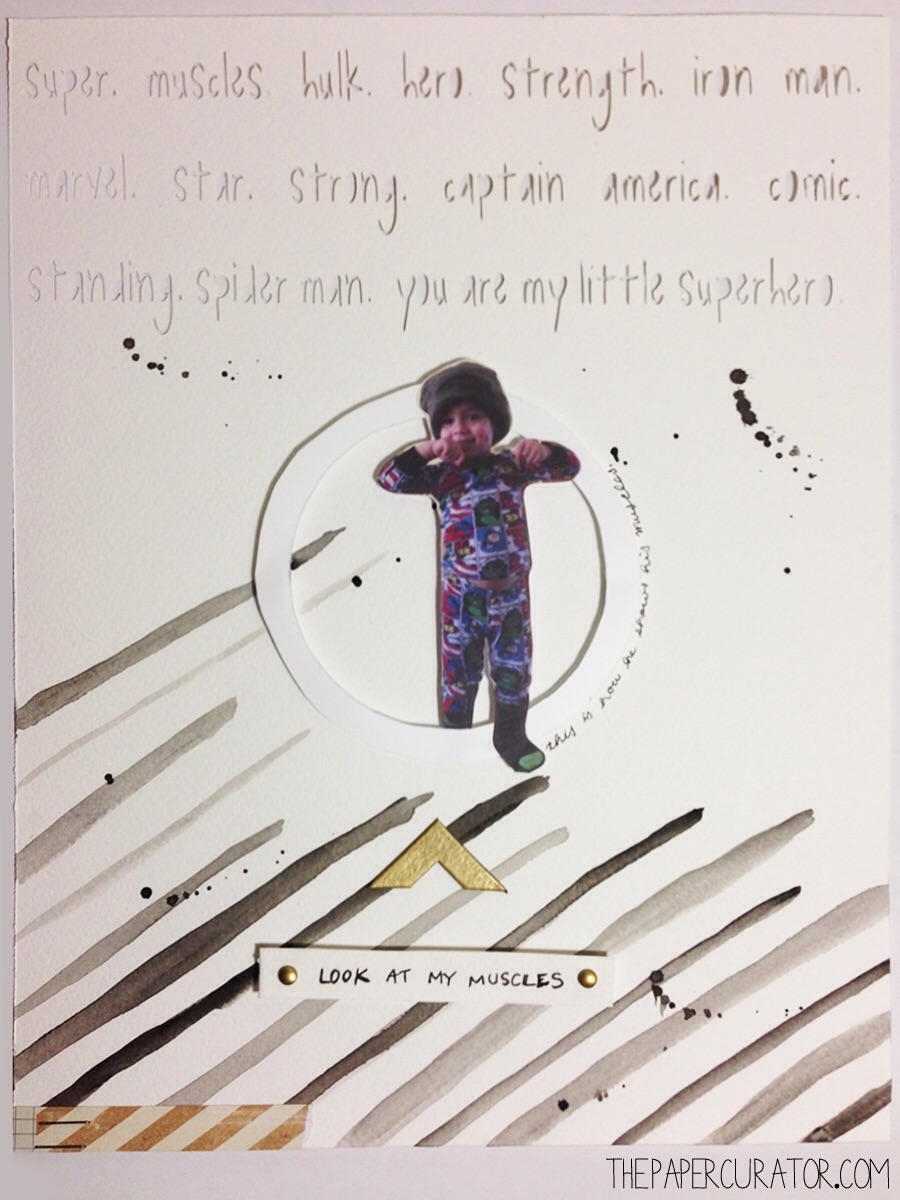 'MY LITTLE SUPERHERO' SCRAPBOOK LAYOUT | THE PAPER CURATOR