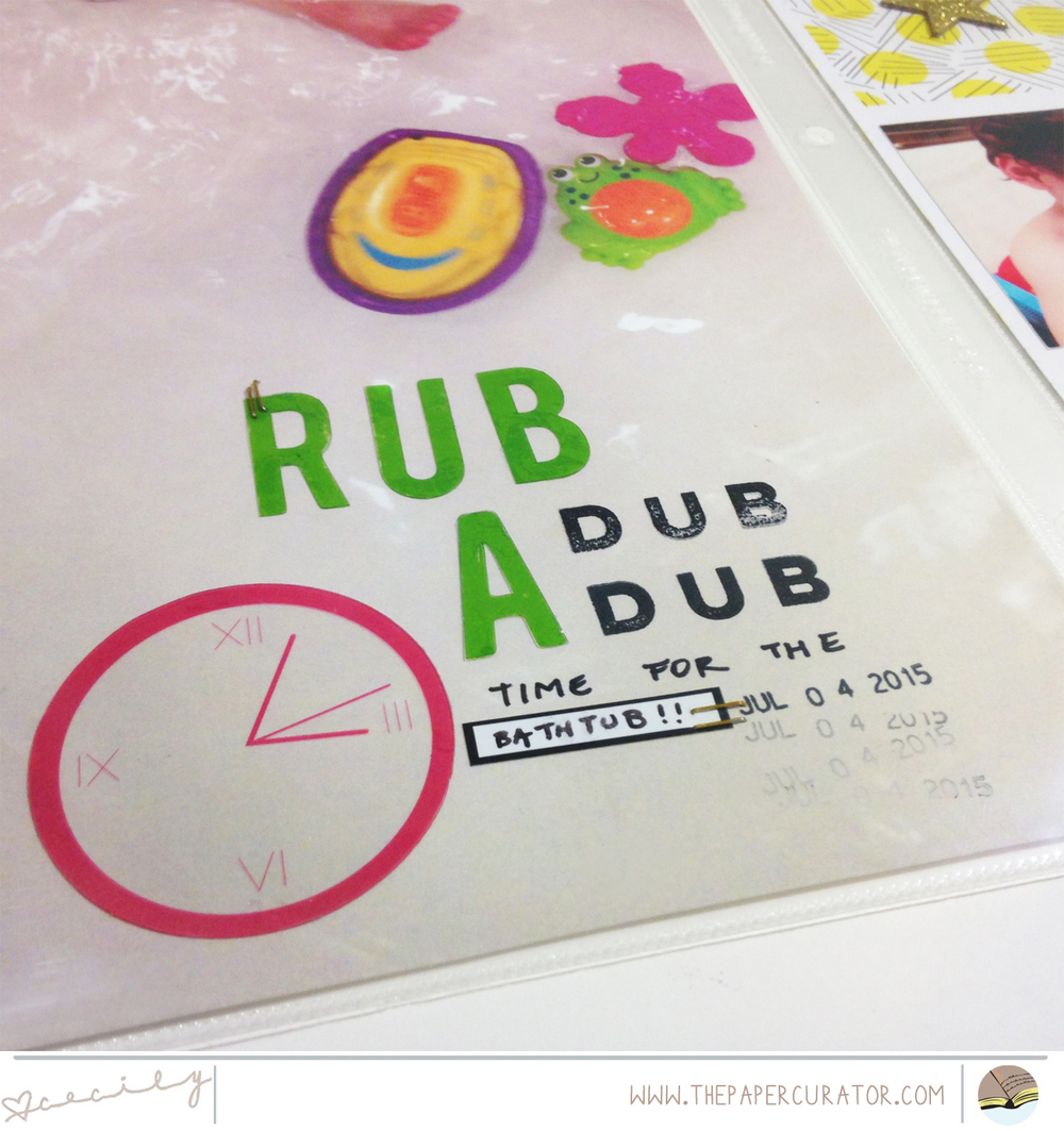 THIS WEEK'S PAGE SKETCH WITH 'RUB A DUB DUB'  SCRAPBOOK LAYOUT | THE PAPER CURATOR