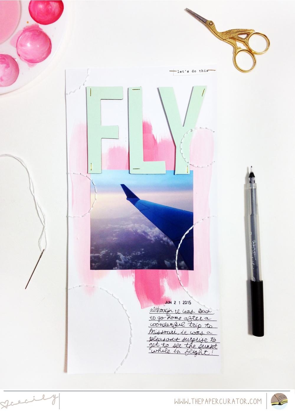 WEEKLY SKETCH WITH 'FLY' SCRAPBOOK LAYOUT | THE PAPER CURATOR