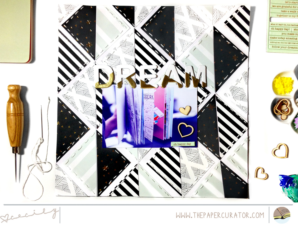 Layered Pattern Paper with Scrapbook Layout 'Dream"